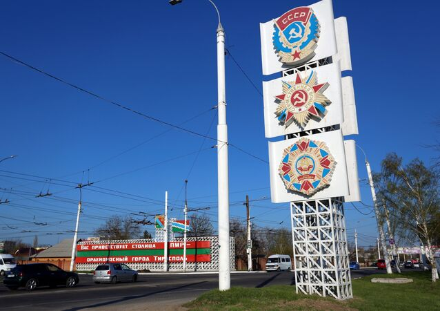 Soviet orders are displayed on a large billboard along the main thoroughfare entering Tiraspol, capital of the self-proclaimed Moldovan Republic of Transnistria on April 3, 2017.