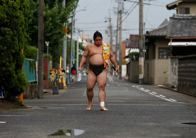 Sumo wrestler Kainishiki returns to training at Ganjoji Yakushido temple in Nagoya, Japan, July 5, 2017.