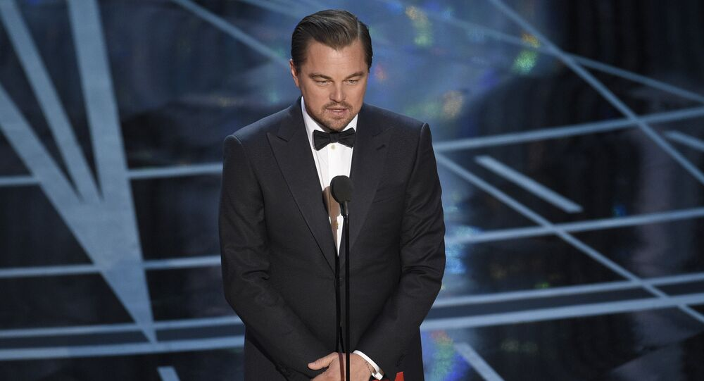 Leonardo DiCaprio presents the award for best actress in a leading role at the Oscars on Sunday, Feb. 26, 2017, at the Dolby Theatre in Los Angeles.