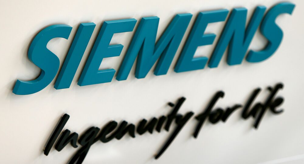 Siemens AG logo is seen in new headquarters in Munich, Germany.