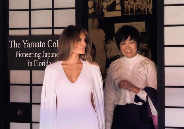 US First Lady Melania Trump (L) and Akie Abe, wife of Japanese Prime Minister Shinzo Abe, tour Morikami Museum and Japanese Gardens in Delray Beach, Florida, on February 11, 2017.