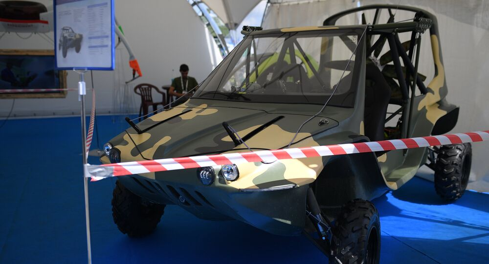 BORTS Triton amphibious flying reconnaissance vehicle at the International Aviation and Space Salon MAKS-2017 in Zhukovsky