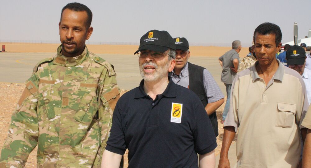 Mustafa Sanalla, chairman of Libya's National Oil Corporation, arrives at Sharara oil field near Ubari, Libya, July 6, 2017