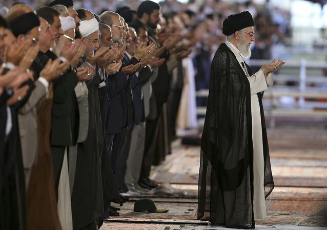 Supreme Leader Ayatollah Ali Khamenei leads Eid al-Fitr prayer marking the end of the Muslim holy fasting month of Ramadan, at Imam Khomeini Grand Mosque, in Tehran, Iran, Monday, June 26, 2017