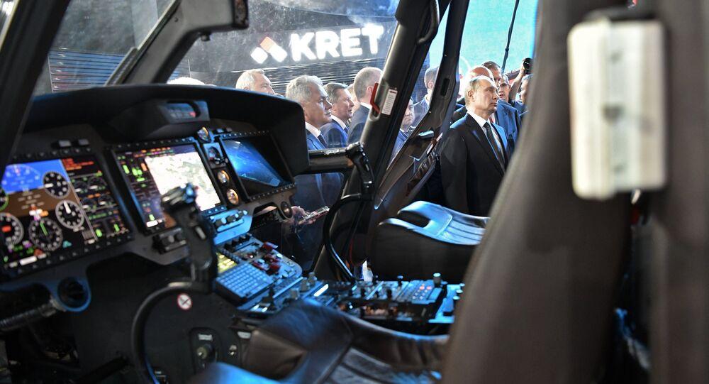 Vladimir Putin visits the International Aviation and Space Salon MAKS-2017