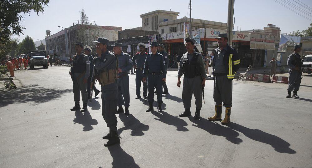 Afghan policemen in Kabul, Afghanistan, Monday, July 24, 2017
