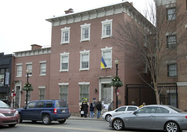 People stop in front of the Ukrainian embassy in Washington (File)
