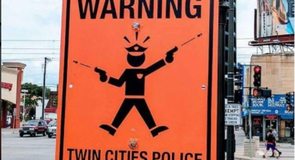 Sign mocking Minneapolis police after officer Mohammed Noor shot and killed Justine Damond