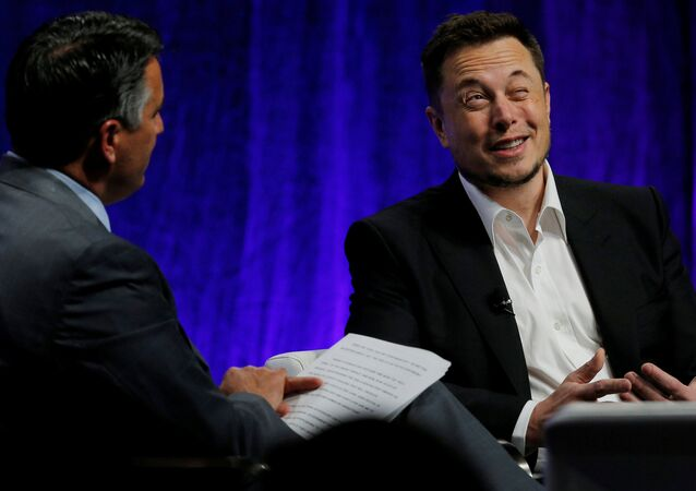 Tesla Motors CEO Elon Musk (R) answers questions from Nevada Governor Brian Sandoval during the National Governors Association Summer Meeting in Providence, Rhode Island, U.S., July 15, 2017.