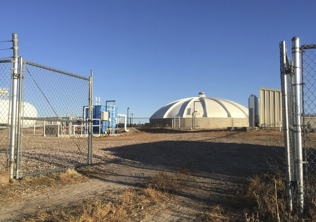 Wastewater tainted with chemicals is stored in this tank from firefighting exercises on Peterson Air Force Base near Colorado Springs, Colorado, November 2016.