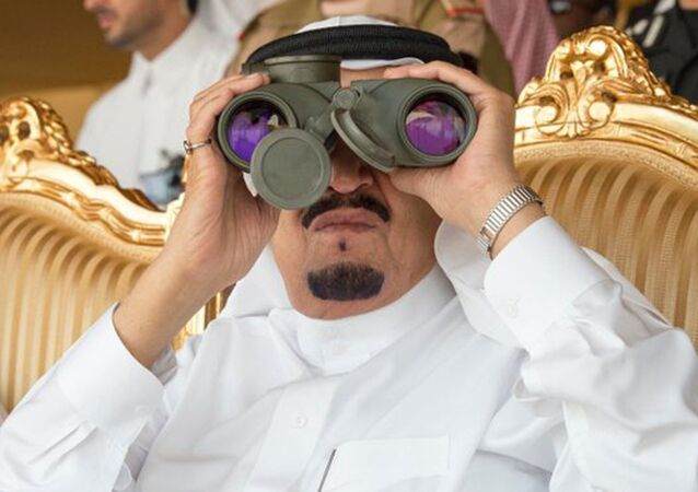 In this Thursday March 10, 2016 photo released by the Saudi Press Agency, SPA, Saudi King Salman watches the North Thunder military exercises in Hafr Al-Baten, Saudi Arabia.