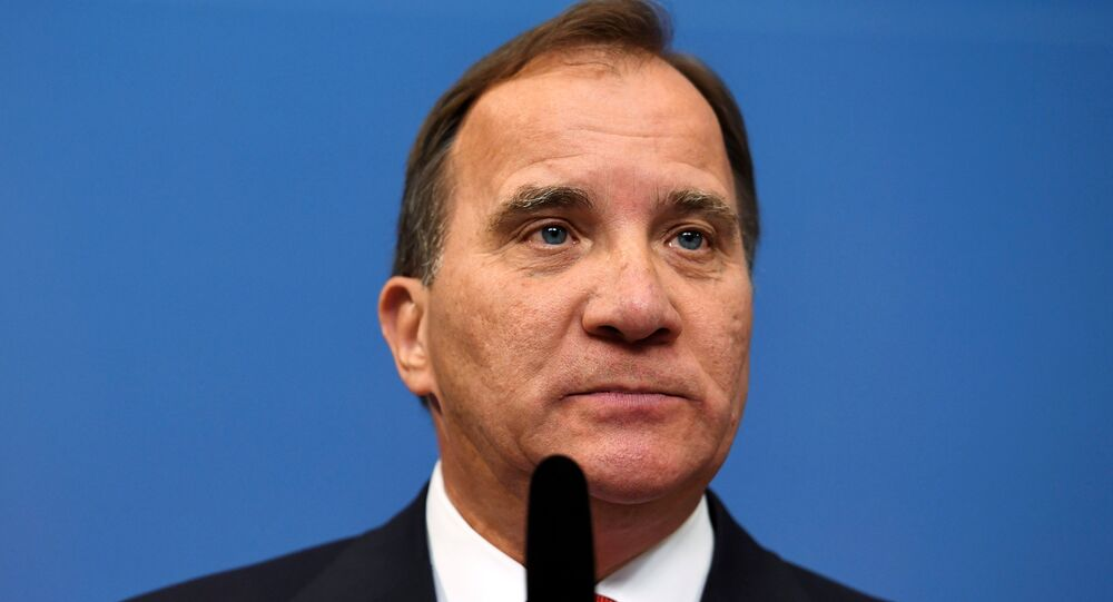 Swedish Prime Minister Stefan Lofven attends a news conference at Rosenbad, the Swedish government headquarters, in Stockholm, Sweden 27 July 2017.