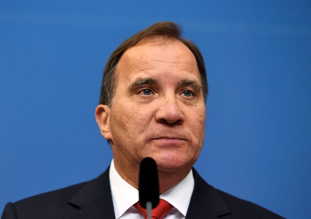 Swedish Prime Minister Stefan Lofven attends a news conference at Rosenbad, the Swedish government headquarters, in Stockholm, Sweden July 27, 2017.