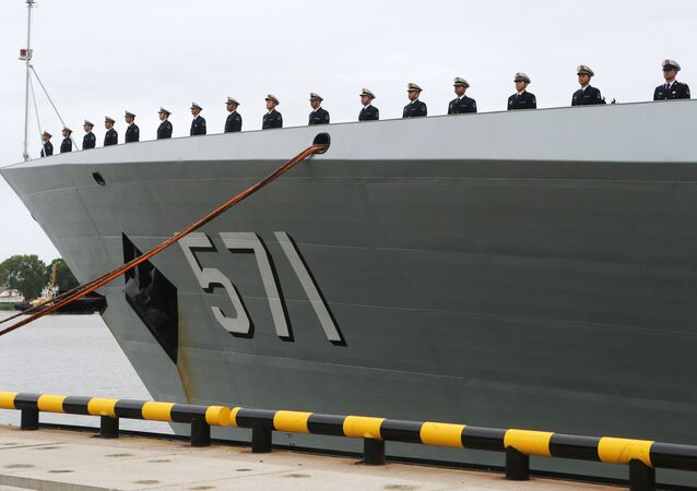 Crew of the Chinese Navy's missile frigate Yuncheng that arrived in Baltiysk for the 2017 Naval Cooperation Russia-China drills