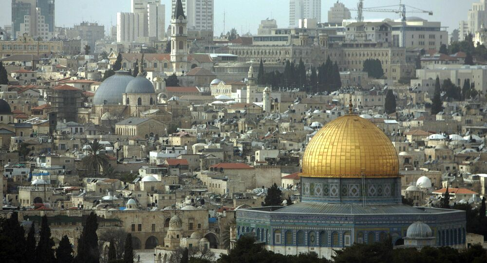 A general view of The Dome of the Rock Mosque at the Al Aqsa Mosque compound, known by the Jews as the Temple Mount, is seen from the Mount of Olives in east Jerusalem. (File)