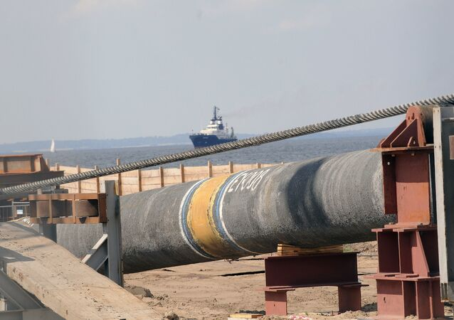 Pipes of the German-Russian Nordstream gas pipeline are seen at the Baltic Sea coast in Lubmin, northern Germany