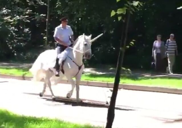 The policeman is riding a unicorn in Russia
