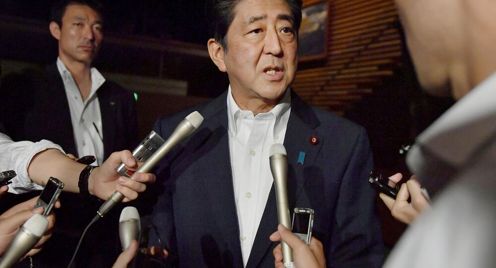 Japanese Prime Minister Shinzo Abe speaks to reporters about North Korea's missile launch in Tokyo, Japan in this photo taken by Kyodo on July 29, 2017