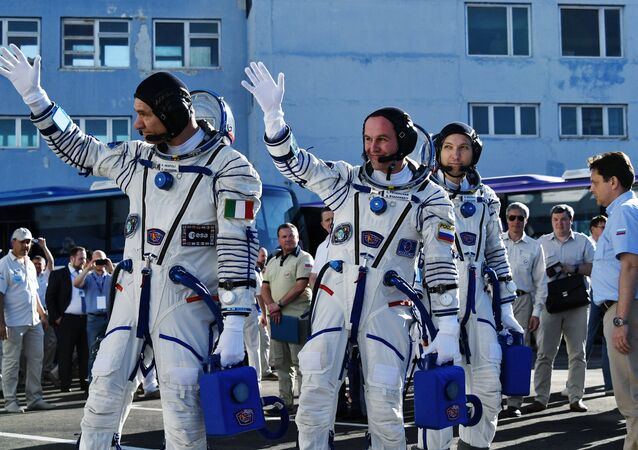From left: ISS Expedition 52/53 primary crew members onboard engineer Paolo Nespoli of ESA, onboard engineer Sergei Ryzansky of Roskosmos space agency and ISS Expedition 53 commander Randolph Bresnik of NASA seen here ahead of the launch of Soyuz MS-05 manned spacecraft with ISS Expedition 52/53 cre