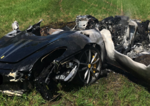 UK man crashes and destroys Ferrari an hour after buying it