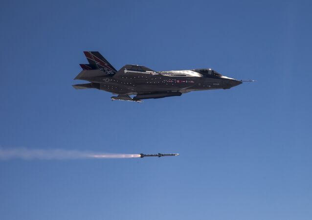 An F-35A Lightning II fired an AMRAAM® air-to-air missile off the California coast during an Oct. 30, 2014, test