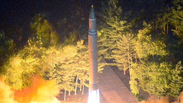 Intercontinental ballistic missile (ICBM) Hwasong-14 is pictured during its second test-fire in this undated picture provided by KCNA in Pyongyang on July 29, 2017. - Sputnik International