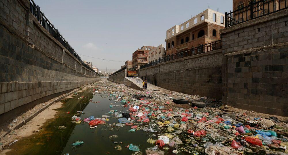 An open-air sewage channel is seen, amid a cholera outbreak, in Sanaa, Yemen, July 8, 2017.