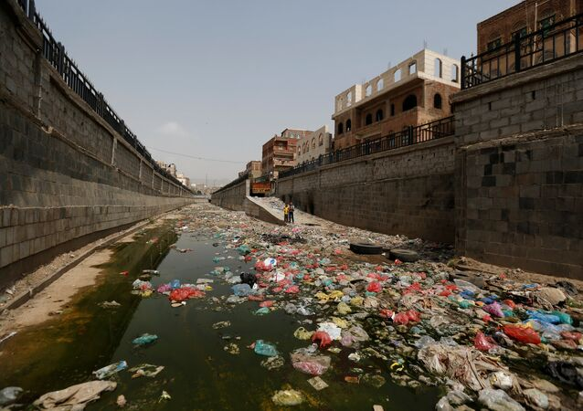 An open-air sewage channel is seen, amid a cholera outbreak, in Sanaa, Yemen, July 8, 2017.