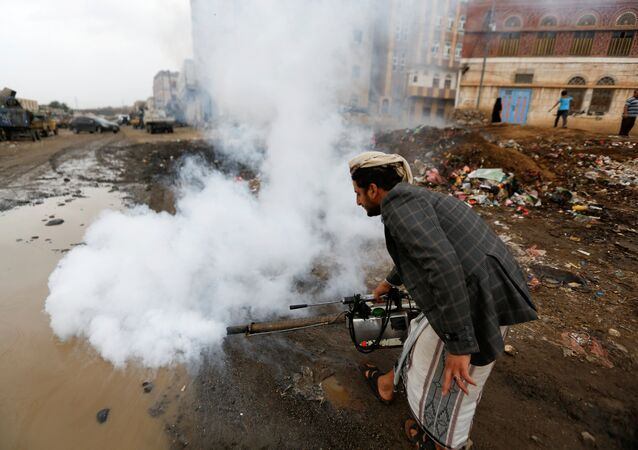 A public health worker sprays insecticide, amid a cholera outbreak, in Sanaa, Yemen, July 26, 2017.