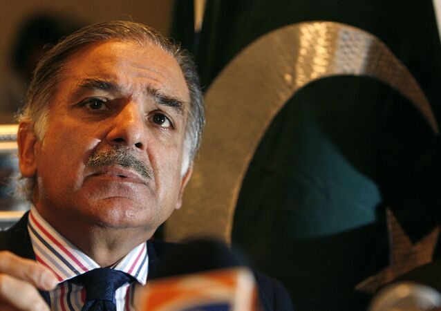 Shehbaz Sharif, President of Pakistan Muslim League -N and brother of Nawaz Sharif, former Prime Minister of Pakistan, listens to a question during a press conference on 'Pakistan's political crisis' in London. (File)