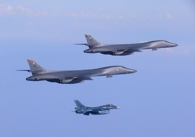 Two U.S. Air Force B-1B Lancer bombers fly a 10-hour mission from Andersen Air Force Base, Guam, escorted by a Japan Air Self-Defense Force F-2 fighter jet into Japanese airspace and then over the Korean Peninsula, July 30, 2017