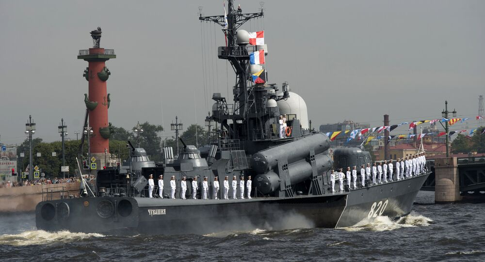 A Chuvashiya 3rd class missile boat at the final rehearsal of the Navy Day parade in St. Petersburg