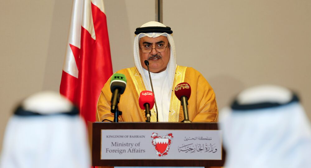 Bahraini Foreign Minister Sheik Khalid bin Ahmed Al Khalifa reads the joint statement after the foreign ministers of Saudi Arabia, Bahrain, the United Arab Emirates and Egypt meeting to discuss their dispute with Qatar, in Manama, Bahrain July 30, 2017