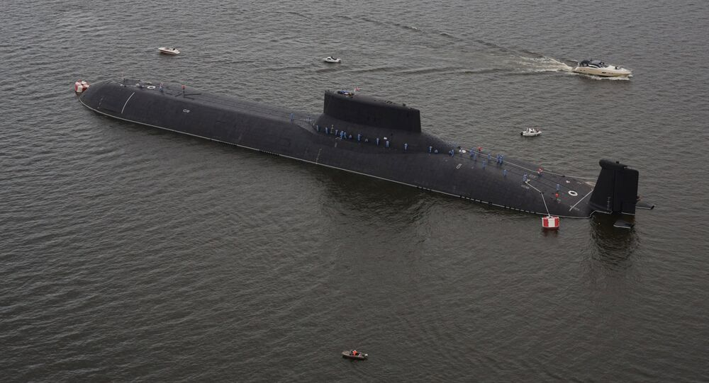 An aerial view shows the Russian nuclear submarine Dmitry Donskoy moored on the eve of the the Navy Day parade in Kronshtadt, a seaport town in the suburb of St. Petersburg, Russia, July 28, 2017