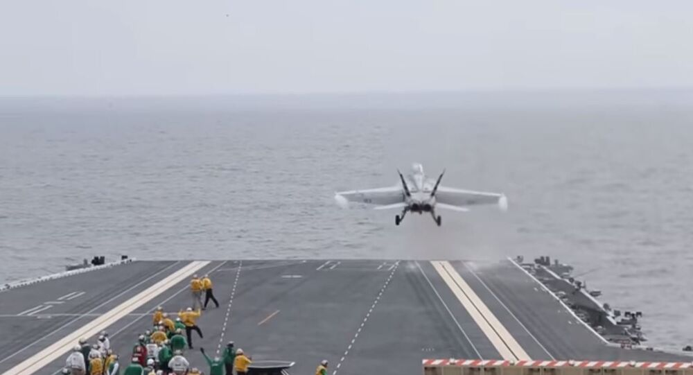 Super Hornet Conducts EMALS take off aboard the USS Gerald Ford.