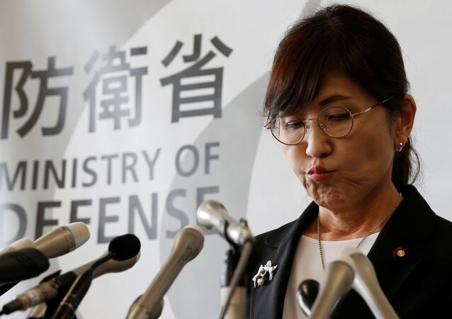 Japan's Defence Minister Tomomi Inada announces her resignation during a news conference at the Defence Ministry in Tokyo, Japan July 28, 2017