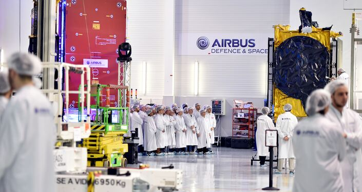 Airbus Defence and Space researchers work during the presentation of the satellite Eutelsat 172B, the first entirely electric European satellite, at the Airbus Defence and Space Headquarters in Toulouse on March 15, 2017, prior to its departure to Kourou where it will be launched in April 2017