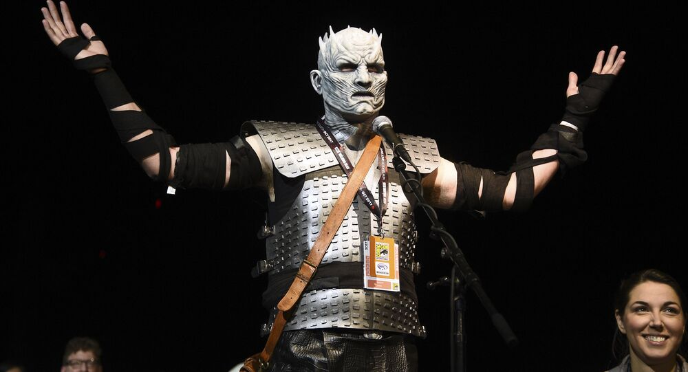 Fan Christopher Lomas, dressed as the Night King, asks a question at the Game of Thrones panel on day two of Comic-Con International on Friday, July 21, 2017, in San Diego.