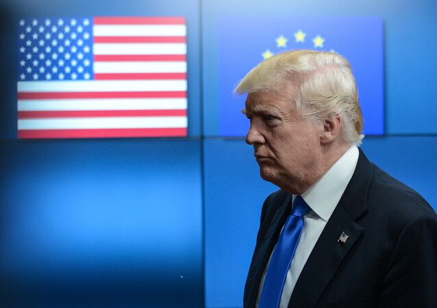 US President Donald Trump meets with EU leaders in Brussels. File photo