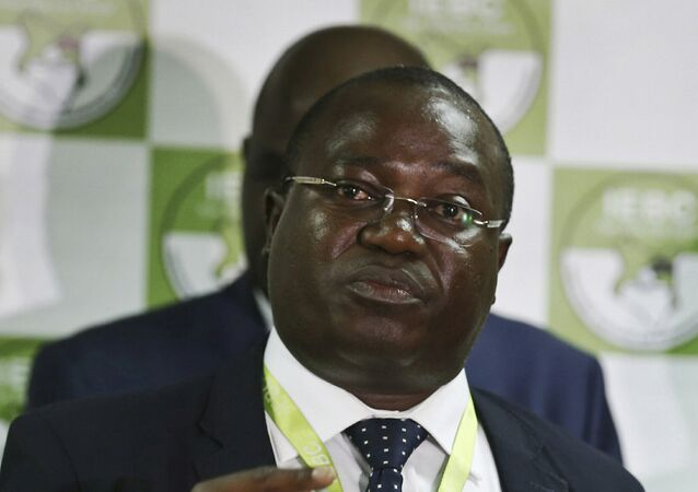 In this photo taken Thursday, July 6, 2017, Christopher Msando, an information technology official for Kenya's electoral commission, speaks at a press conference in Nairobi, Kenya.