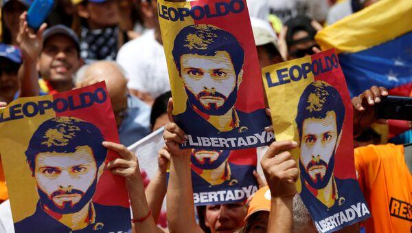 Placards depicting Venezuela's opposition leader Leopoldo Lopez are seen during a rally against Venezuelan President Maduro's government in Caracas, Venezuela July 9, 2017 - Sputnik International
