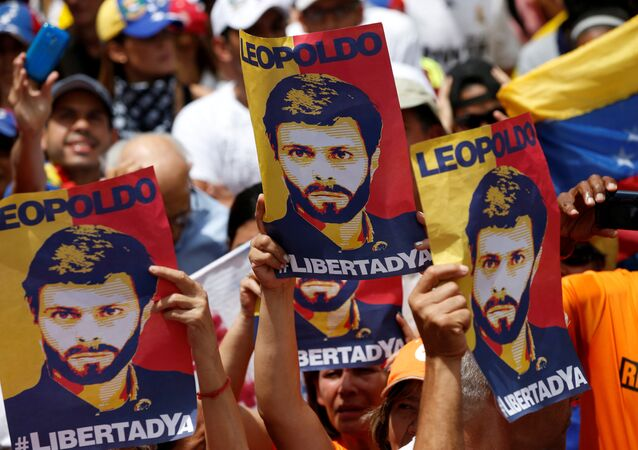 Placards depicting Venezuela's opposition leader Leopoldo Lopez are seen during a rally against Venezuelan President Maduro's government in Caracas, Venezuela July 9, 2017