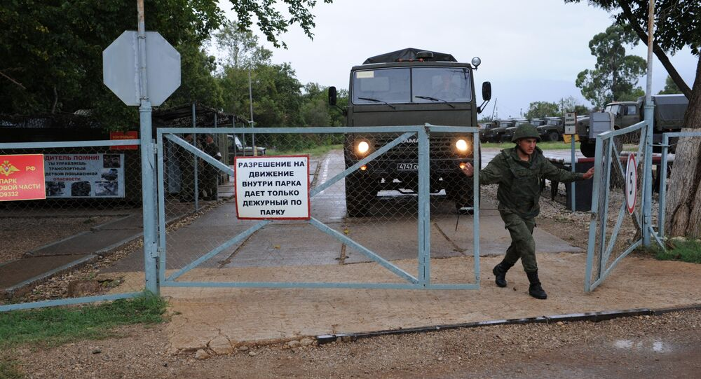 The checkpoint of the Russian military base in in Gudauta, the Republic of Abkhazia