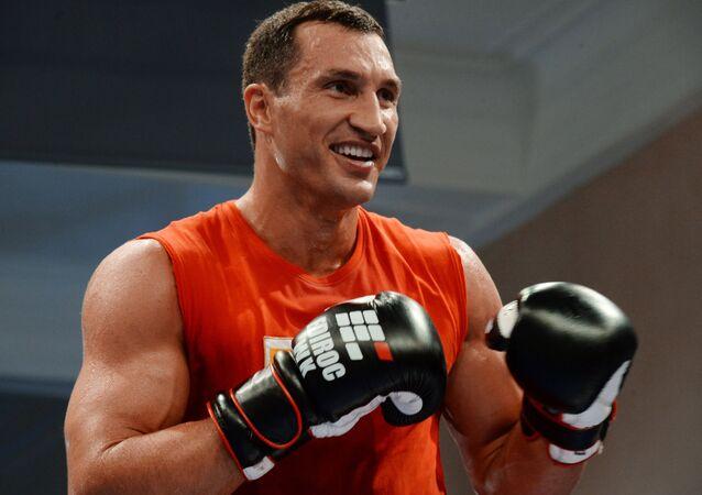Ukrainian boxer Wladimir Klitschko training before a fight with Russian boxer Alexander Povetkin. (File)