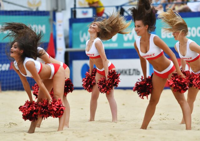 Cheerleaders at the 2017 Euro Beach Soccer League third stage match between the men's national teams of Russia and Belarus in Moscow