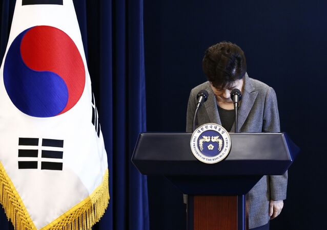 South Korean (then) President Park Geun-hye bows during her address to the nation at the presidential Blue House in Seoul, Tuesday, Nov. 29, 2016.
