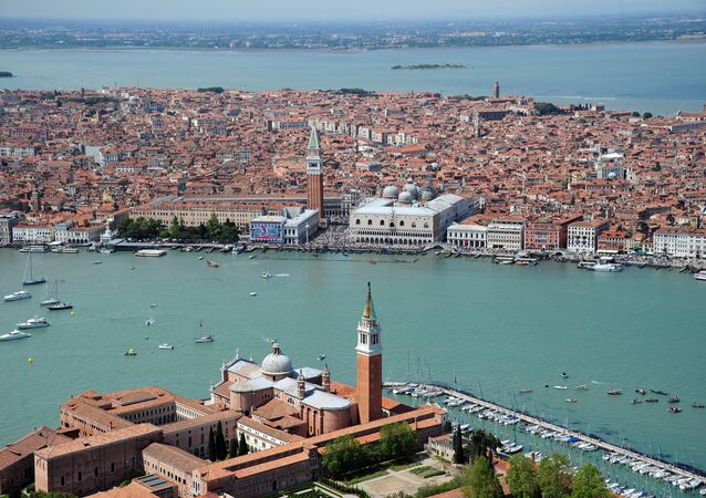 This aerial picture shows St Mark's square (front) and San Giorgio island in Venice. (File)