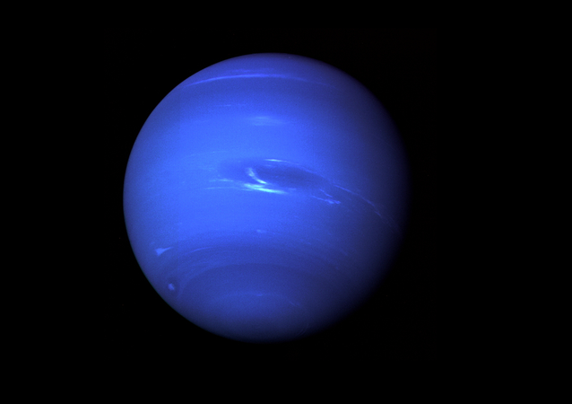 Neptune, the Eighth Planet from the Sun, Nicknamed The Windy Planet for its winds that can surpass 1,100 mph.