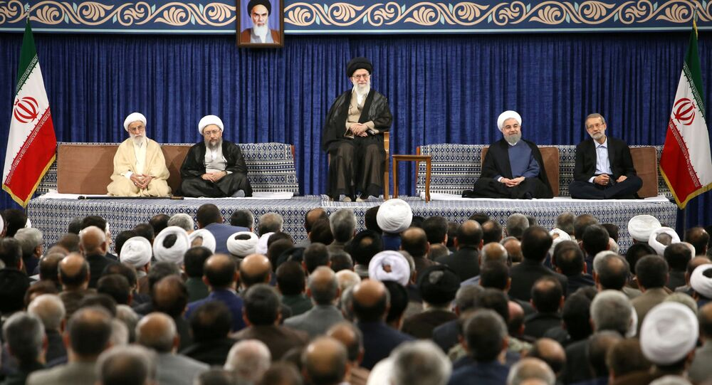 Iran's Supreme Leader Ayatollah Ali Khamenei and Iran's President Hassan Rouhani attend an endorsement ceremony for Rouhani as a president, in Tehran, Iran