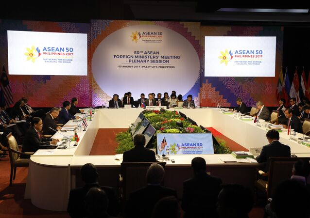 ASEAN foreign ministers take part in a meeting of the 50th Association of Southeast Asian Nations (ASEAN) Foreign Ministers Meeting (AMM) at the Philippine International Convention Center in Manila